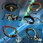 Mixed Style Skull Cross Anchor Surfer Cuff Ethnic Tribal Leather Bracelet Bangle