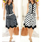 Retro Womens Polka Dot Skater Business Casual Mini Dress White Black 5 Sizes