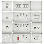 SCREWLESS FLAT PLATE LIGHT SWITCHES & PLUG SOCKETS POLISHED CHROME WHITE INSERT