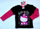 NWT: New Hello Kitty Black & Pink Sparkle Layered Shirt, 2T, 3T, or 4T, Rtls $18