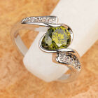 AWESOME Olivine Peridot 6*6mm GEMSTONES SILVER RING Size_Select T6733