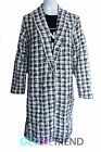 Womens Checked Dogtooth Black Open Duster Coat Ladies Blazer Slip On Jacket