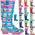 NEW WOMENS FLAT FESTIVAL WELLIES WELLINGTON RAIN BOOTS SIZE 3 - 8