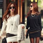 Women Long Sleeve Bodycon Slim Sexy Party Cocktail Mini Dress Black/White