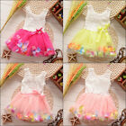 Hot Rose Floral Pearl Chiffon Princess Toddler Baby Girls Princess Dress skrits