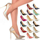 WOMENS LADIES HIGH HEEL POINTED CONTRAST COURT SMART PARTY WORK SHOES PUMPS SIZE