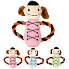 Squeak Plush Rope toy-smile doll in blue green and pink for Dog