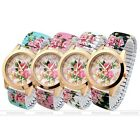 1X Women Fashion Style Rose Flora Flower Elastic Stretch Bracelet Quartz Watch