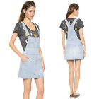 May&Maya Women's Demin Raw Cut Hem Gertie Pinafore Overall Mini Work Wear Dress