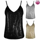 WOMENS LADIES SEQUIN STRAPPY CAMI SWING VEST SLEEVELESS TOP PARTY EVENING DRESS