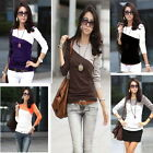 Women's Long Sleeve T-Shirt Splice Casual Patchwork Round Neck Blouse Cotton