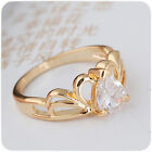18K Gold Filled Luxury White Sapphire Ladies Cocktail Engagement ring Size 7-8