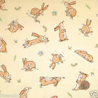 "per 1/2 metre/ FQ 100 % cotton GUESS HOW MUCH I LOVE YOU bunny / lemon 44"" wide"