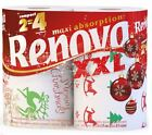 RENOVA WHITE PRINT 2 PLY CHRISTMAS XMAS KITCHEN HOME TISSUE ROLLS PAPER TOWELS