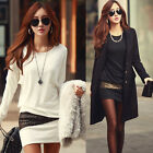 Sexy Winter Women Long Sleeve Blouse Shirt Crew Neck Slim Bottoming MINI Dress