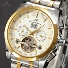 KS Stainless Steel Men Tourbillon Automatic Mechanical Day Date Month Watch