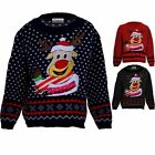 Childrens Festive Rudolph Reindeer Snow Girls XMAS Christmas Knitted Jumper