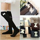 Women's Bow Lace Knee High Trim Stockings Boot Socks Cotton Knited Leg Warmers