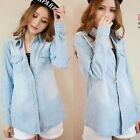 New Womens Collared Denim/Jean Blue Long Sleeve Tops T-Shirt Blouse Shirt Jacket