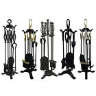 5 Piece Companion Sets Black Fireplace Fire Accessory Cast Iron By Home Discount