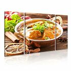 INDIAN FOOD 1 Asian Food & Drink 3B Canvas Framed Printed Wall Art ~ 3 Panels