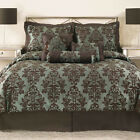 BRAND NEW Brown & Turquoise Jacquard 7  Comforter Set & Pillows FULL QUEEN KING