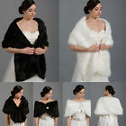 Faux Fur Womens Evening Wraps Bridal Long Shrugs Girls Muffer Shawls Stole Cape