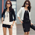 Fashion Womens Outwear Suit OL Blazer Long Sleeve Rivet Lady Short Jacket Coat