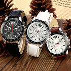 HOT SELLING WOMENS MENS MILITARY FAUX LEATHER SPORTS ANALOG QUARTZ WRIST WATCH