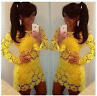 Sexy Women Yellow Hollow Out Lace Long Sleeve Bodycon Cocktail Party Ball Dress