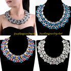 Fashion Charm Gold Chain Multilayers Shiny Acrylic Drop Statement Bib Necklace