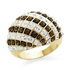 Brown and White Crystal Chunky Fashion RIng In Gold-Plated Bronze