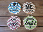 Brand New Ceramic Bottle Top Drink Coasters with Various Sayings & Cork Backing