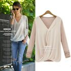 Elegant V Neck Women Tee Chiffon Casual Cotton Patchwork Office Shirt Top Blouse