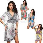 Women's Sexy V Neck BOHO Beach Cover-up Dress Fashion Ice Silk Sundress Swimsuit