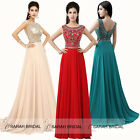 Popular Party Evening Gowns Long Prom Dresses Crystal Beading Top V Open Back