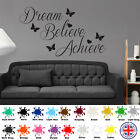 Dream Believe Achieve - Wall Art Quote Sticker Inspirational love hearts