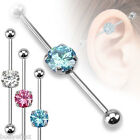 SEXY 3 COLOR LOT OF SURGICAL STEEL ROUND CZ INDUSTRIAL BARBELLS EAR BODY JEWELRY