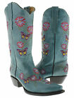 Womens cowboy boots ladies gringo love butterfly flower rhinestone old turquoise