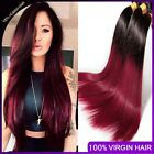 Silky Straight Ombre Hair 3 Bundles 2 Tone Burgundy Virgin Peruvian Human Hair
