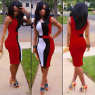 Lady Women Sleeveless Slim Bodycon Cocktail Party Evening Pencil Short Dress NEW