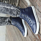 New Stylish Men's Denim Canvas Lace Up Slip On Ankle Boots Casual Sneakers Shoes