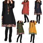 Ladies Mini Dress Tunic Blouse Floral Trim Long Sleeve T Shirt Womens Dress Size