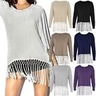NEW LADIES WOMENS CASUAL TASSLE LONG SLEEVE JUMPER SOFT STRETCH TOP SIZE