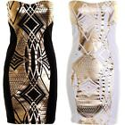 Ladies Panel Contrast Gold Metallic Print Women's Boobtube Short Bodycon Dress