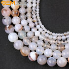 Natural Stone Genuine Gray Striped Agate Gemstone Beads For Jewelry Making 15""