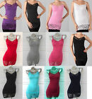 EXTRA LONG Spaghetti Strap LACE TRIM Cotton STRETCH Basic Camis Tank Top T-shirt
