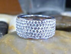 Sterling Silver .925 Clear Crystal Pave Band Ring