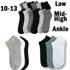 Mens Womens 10-13 Crew Ankle Low Cut Sports Socks Black Whit