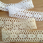 PER METRE cotton vintage effect lace trim cream or white 30MM WIDE flat edge